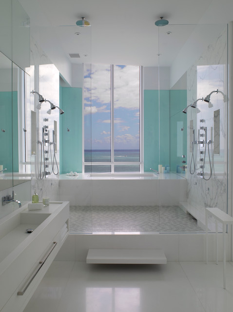 Jennifer Post designed apartment  at The Bath Club, Miami Beach contemporary-bathroom