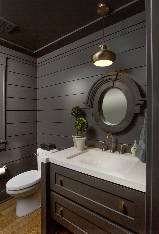 Bathroom - transitional bathroom idea in Columbus with dark wood cabinets and white countertops