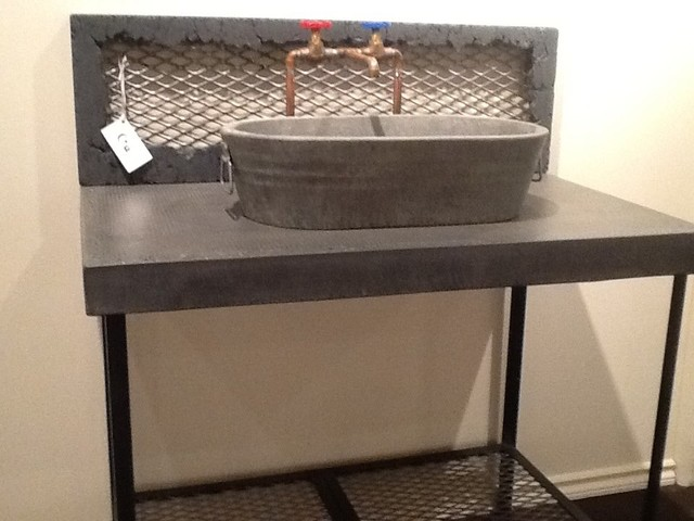 Jesco Vanity with Washtub Vessel Sink and Raw Copper Faucet - Eclectic ...