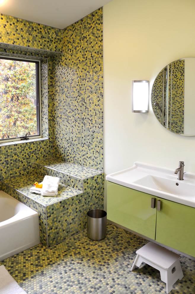 Inspiration for a contemporary multicolored tile and mosaic tile mosaic tile floor alcove bathtub remodel in Other with a console sink, flat-panel cabinets, green cabinets and yellow walls