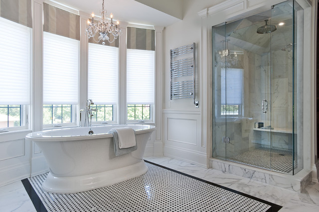 Master Ensuite Freestanding Bath And Marble Shower Traditional