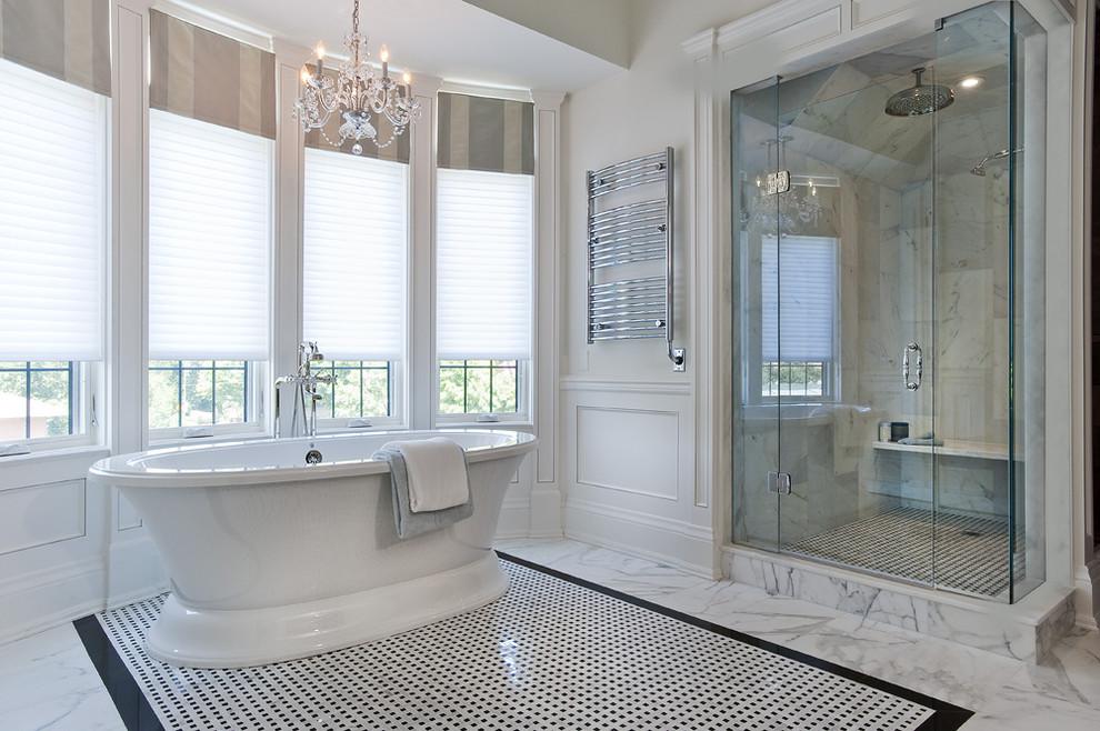 Large elegant master white tile, black and white tile and marble tile marble floor bathroom photo in Toronto