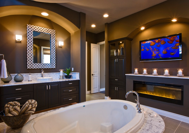 Example Of A Trendy Drop In Bathtub Design In Austin With A Vessel Sink