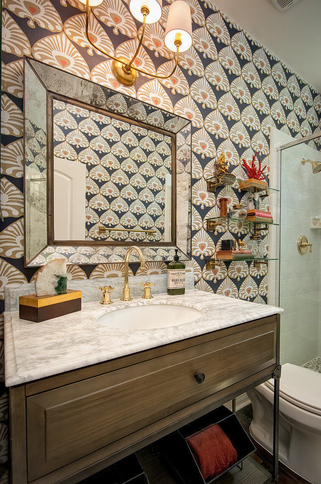 Example of a transitional white tile alcove shower design in San Diego with an undermount sink, furniture-like cabinets, dark wood cabinets and multicolored walls