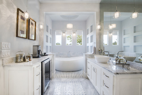 Master bathrooms are retreats from the hectic world.