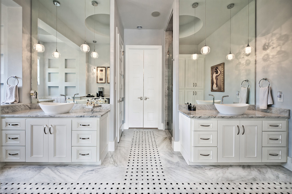 Alcove shower - transitional alcove shower idea in Austin with a vessel sink, recessed-panel cabinets, white cabinets and gray walls