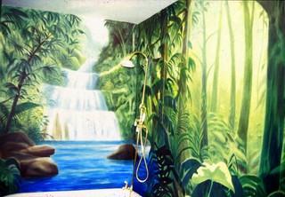 Jungle Bathroom Mural Kolonialstil Badezimmer San Francisco