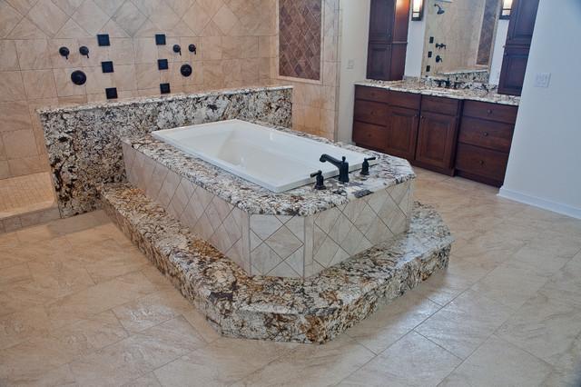 Juperana Delicatus Granite Tub Surround & Matching Vanities - Contemporary - Bathroom - DC Metro ...