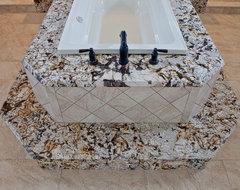 Juperana Delicatus Granite Tub Surround & Matching Vanities contemporary-bathroom