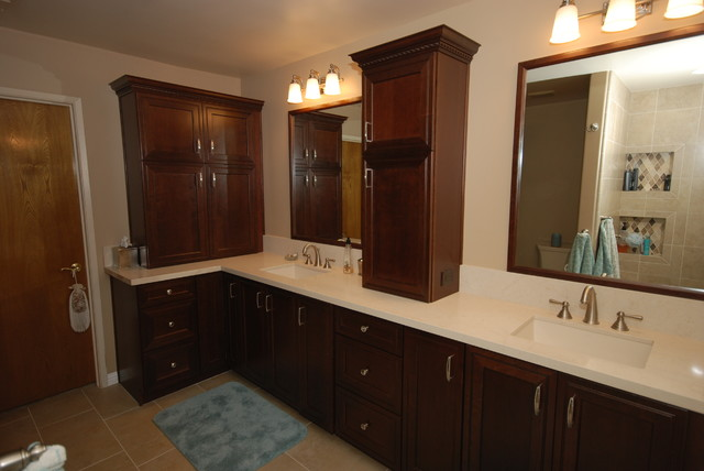 Kaffe/ Dreamy Marfil - Traditional - Bathroom - Other - by Blue River Cabinetry Kitchen & Bath