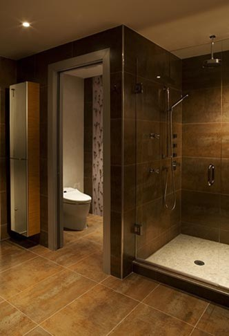 What are the dimensions of the enclosed toilet Bathroom designs with separate tub and shower
