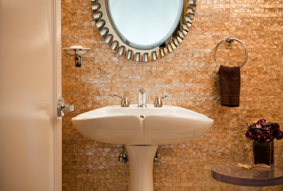 Example of a small trendy multicolored tile bathroom design in Chicago with a pedestal sink