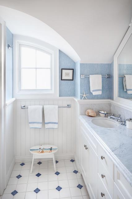 Kennebunkport beach style bathroom portland maine for Bathroom remodel 10k