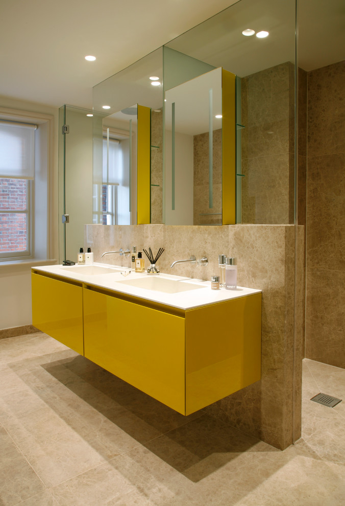 Trendy bathroom photo in London with yellow cabinets