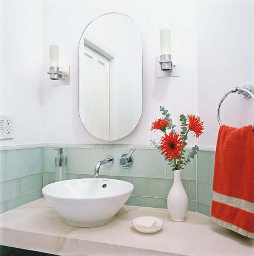 mint and red bathroom