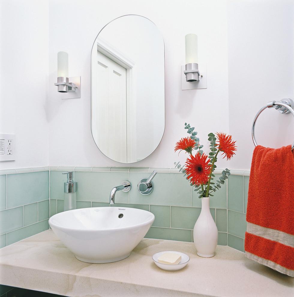 Bathroom - contemporary glass tile bathroom idea in San Francisco with a vessel sink