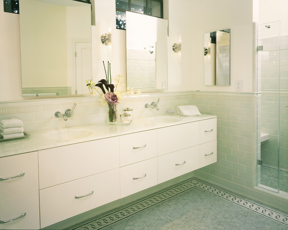 Bathroom - contemporary mosaic tile bathroom idea in San Francisco