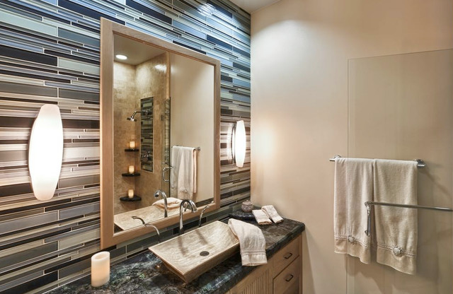 Key Largo Mosaic Tile Bathroom Backsplash Contemporary