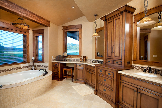 keystone ranch home brasada ranch style homes rustic bathroom - Western Design Homes