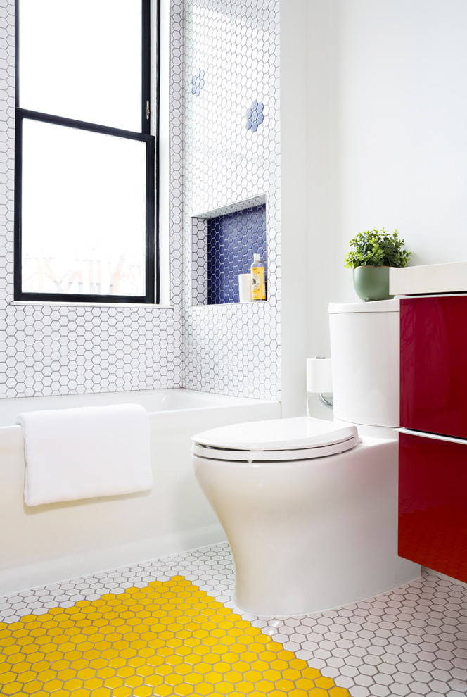 Example of a mid-sized trendy 3/4 white tile and mosaic tile mosaic tile floor and yellow floor bathroom design in DC Metro with flat-panel cabinets, red cabinets, a two-piece toilet, white walls, an undermount sink and quartz countertops