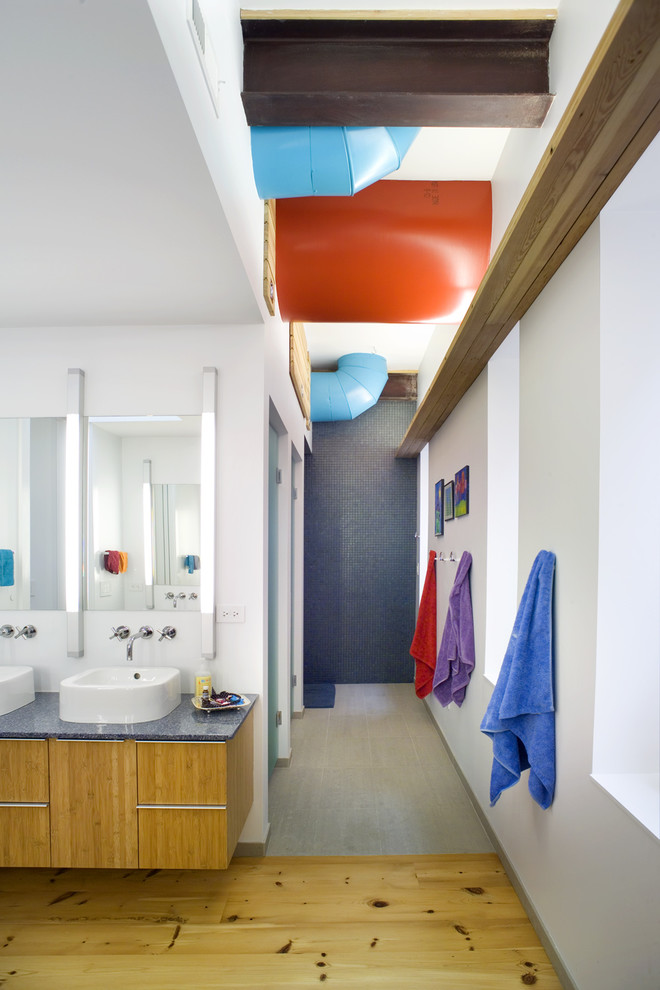 Bathroom - contemporary kids' bathroom idea in Chicago with a vessel sink and blue countertops