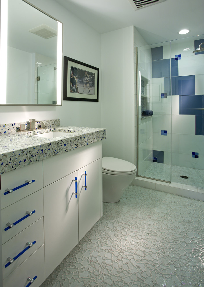 Alcove shower - contemporary multicolored tile alcove shower idea in Minneapolis with an undermount sink, flat-panel cabinets and white cabinets