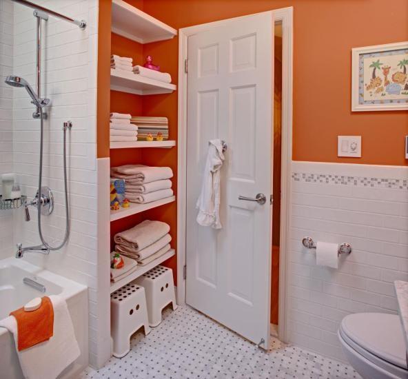 Kids's bath: classic + colorful modern-bathroom