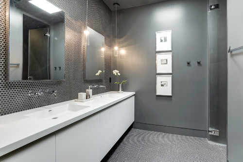 bathroom with intergrated sink