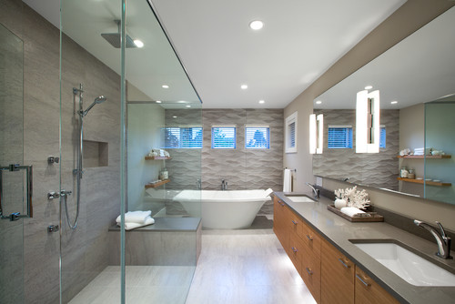 Gray Wavy Tile By Tub
