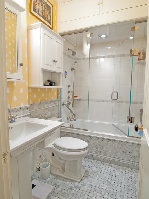 Kitchen and bath renovation in little back bay flat for Small bathroom high ceiling