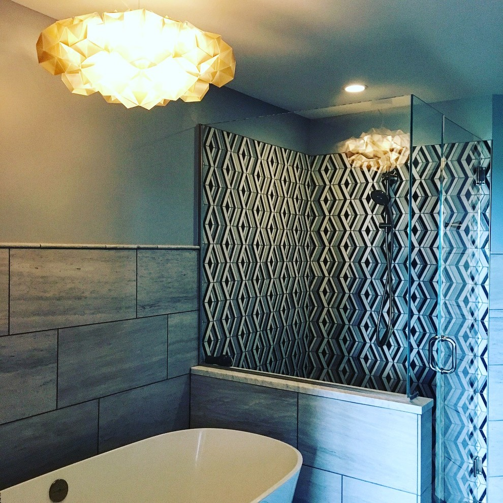 Inspiration for a mid-sized modern master black and white tile and marble tile marble floor and gray floor bathroom remodel in Atlanta with gray walls, a drop-in sink, marble countertops, a hinged shower door and white countertops