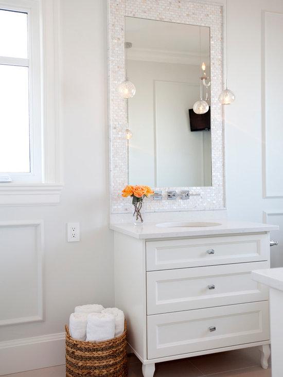 Tile Around Mirror Bathroom Design Ideas, Pictures, Remodel & Decor