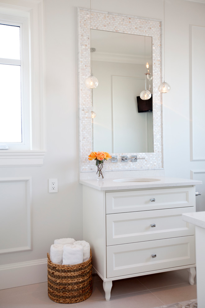 Inspiration for a small transitional master white tile and mosaic tile ceramic tile alcove shower remodel in Vancouver with white cabinets, an undermount sink, quartz countertops, white walls and recessed-panel cabinets