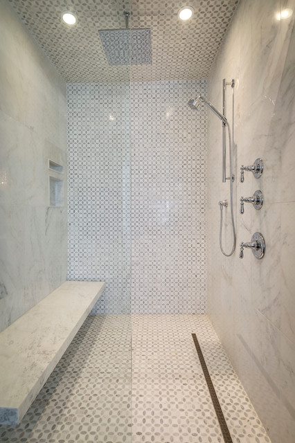 Example of a large minimalist master gray tile and stone tile freestanding bathtub design in Toronto with an undermount sink, beaded inset cabinets, white cabinets, marble countertops, a one-piece toilet and gray walls
