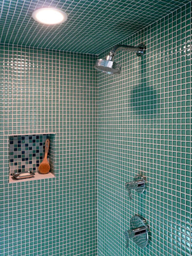 Klopf Architecture - Glass Tile Shower modern bathroom