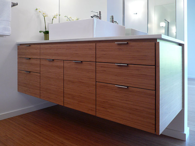 Klopf architecture - master bathroom custom vanity midcentury-bathroom