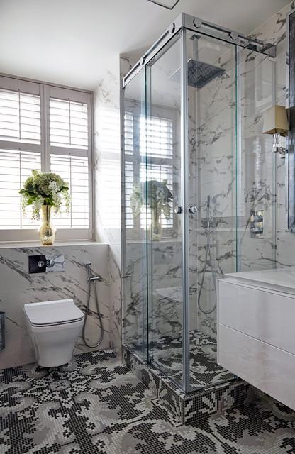Ispirazione per una stanza da bagno con doccia contemporanea con ante lisce, ante bianche, doccia ad angolo, WC sospeso, pistrelle in bianco e nero e porta doccia scorrevole