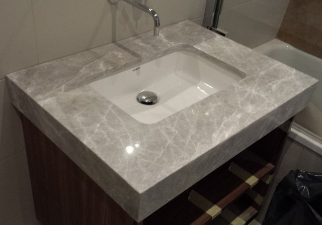 Knightsbridge vanity tops in caesarstone bianco drift for Bathroom quartz vanity tops