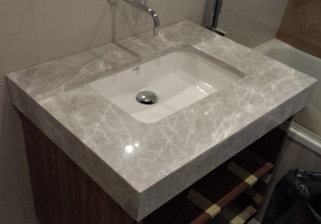 Vanity tops in caesarstone bianco drift quartz 80mm modern bathroom