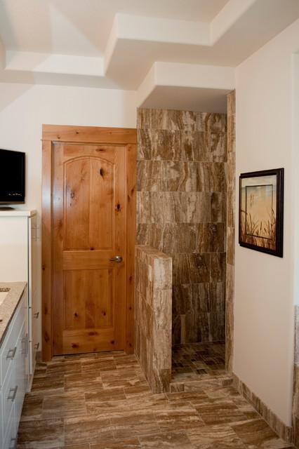 Knotty Alder Interior Doors Transitional Bathroom