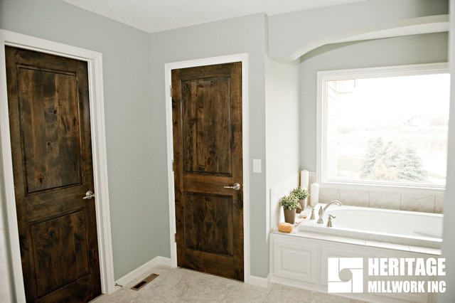 Knotty Alder Stained Dark With White Trim Modern