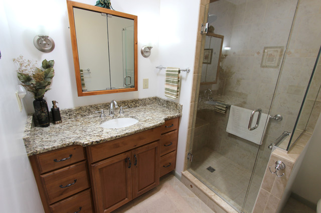 Knotty Alder Vanity With Tile Shower Stow Oh Traditional Bathroom Cleveland By