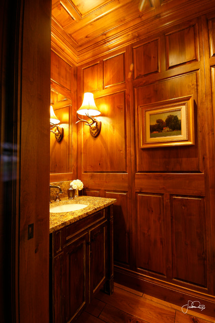 Knotty Alder Wood Paneled Guest Bathroom Traditional