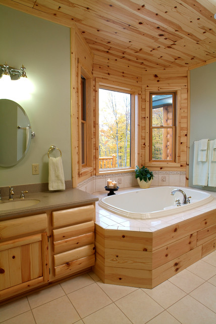Knotty pine master bathroom rustic bathroom other for Bathroom ideas using tongue and groove