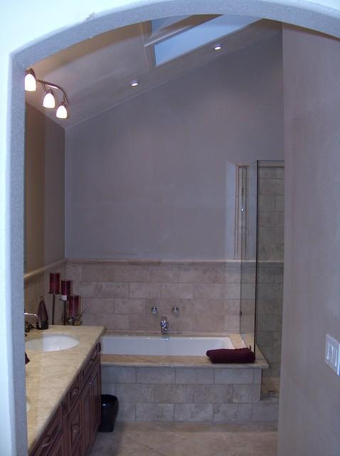 Kohler Tub With Travertine Shower Frameless Shower Doors Modern Bathroom