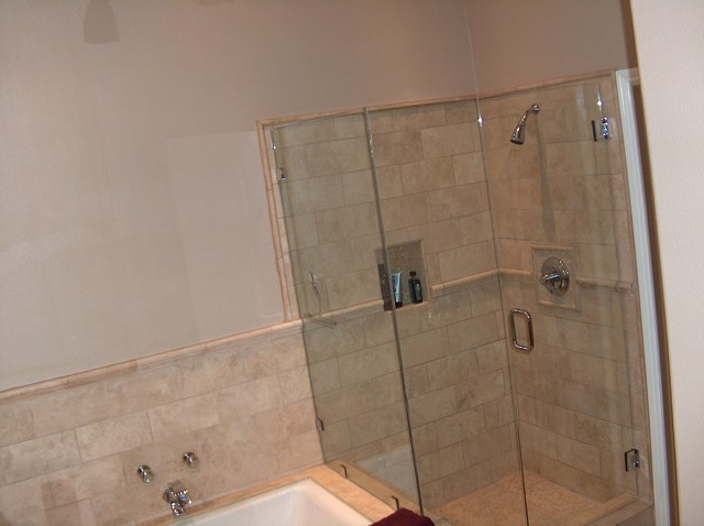 Kohler Tub With Travertine Shower Frameless Shower Doors
