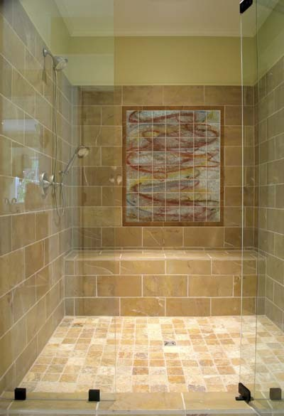 koi tile mural in walk in shower asian bathroom