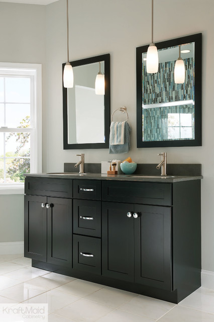Kraftmaid Bathroom Vanity Lights : KraftMaid: Maple Recessed Door in Onyx - Contemporary - Bathroom - by KraftMaid