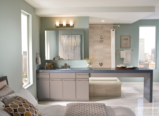 KraftMaid: Maple Slab Door In Pebble Grey - Contemporary ...