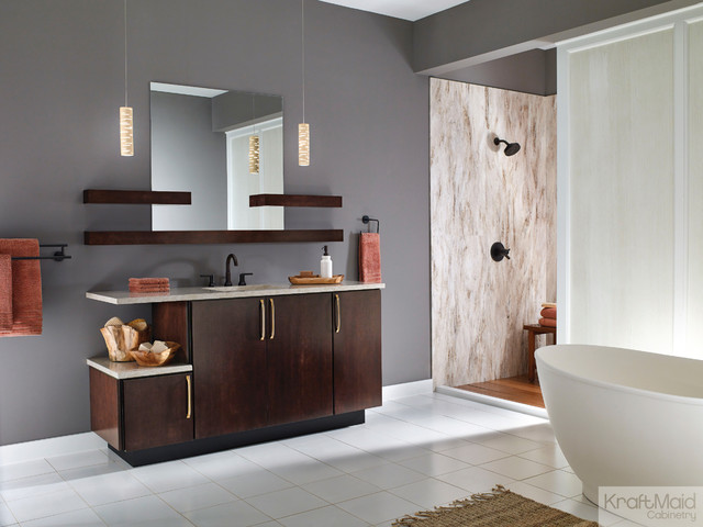kraftmaid maple slab door in peppercorn contemporary bathroom